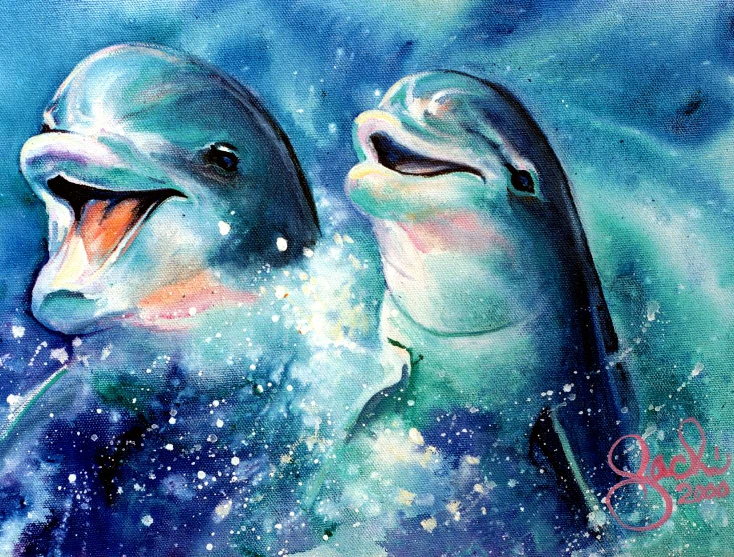 Displaying 18> Images For - Paintings Of Dolphins... Famous Dolphin Painting