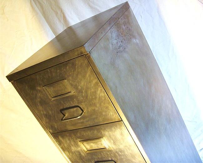 Vintage Retro 4 Drawer Filing Cabinet Polished Metal