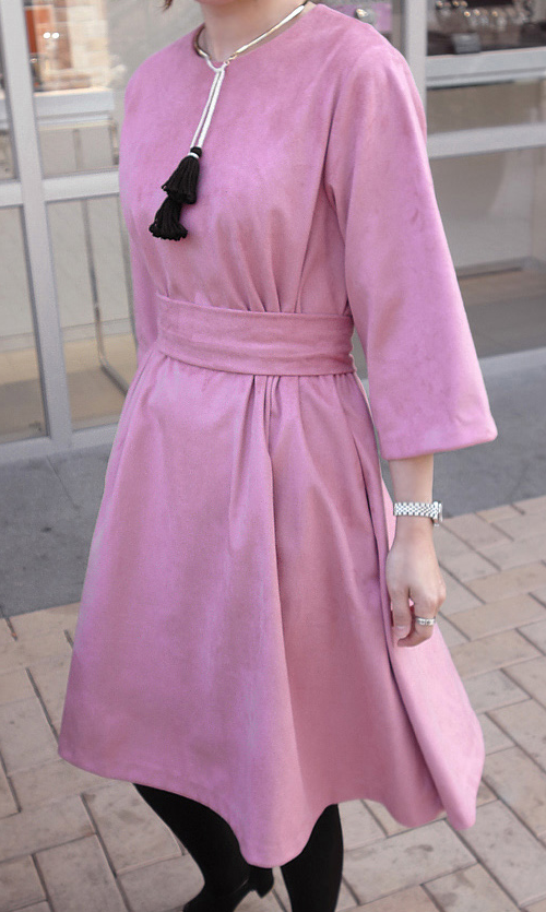 Colored Loose Fit Dress with Wide Belt