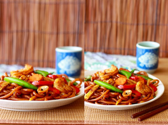 easy stir fry udon recipe spiced with black pepper