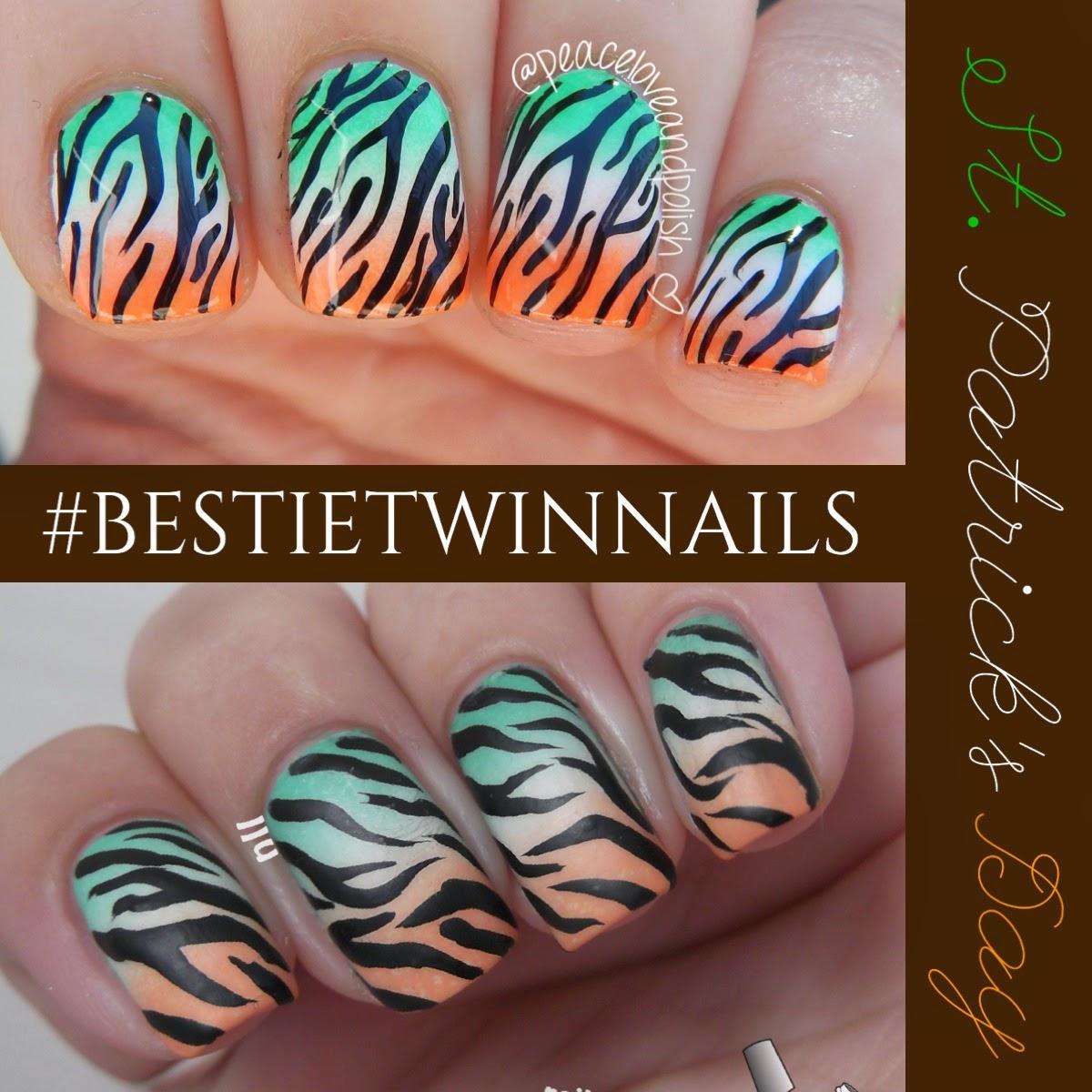 NailsLikeLace: Irish Flag Inspired Zebra Print - Bestie Twin Nails ...
