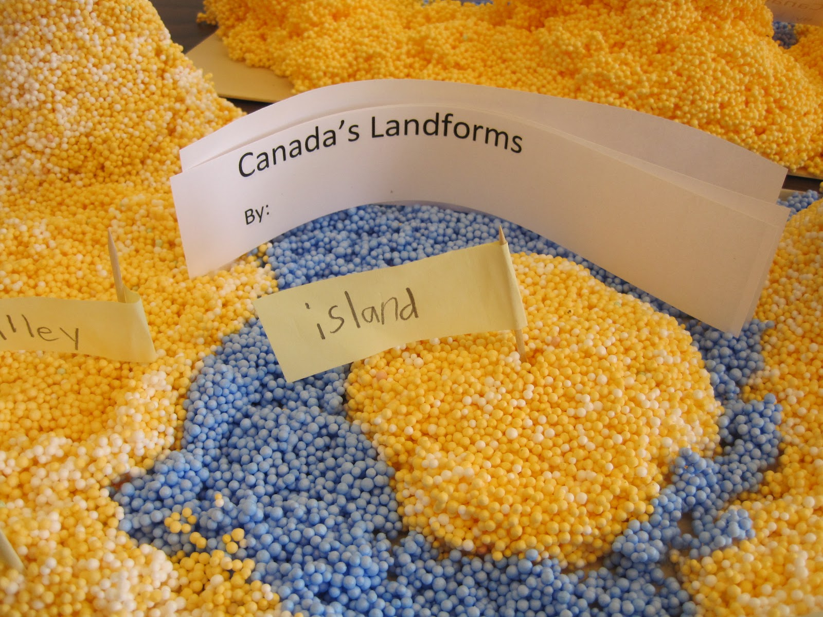 We have been learning about canada. today we made some landforms like