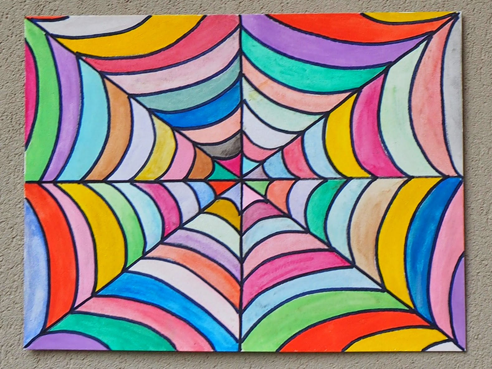 Make Colorful Watercolor Spider Web Art with Kids