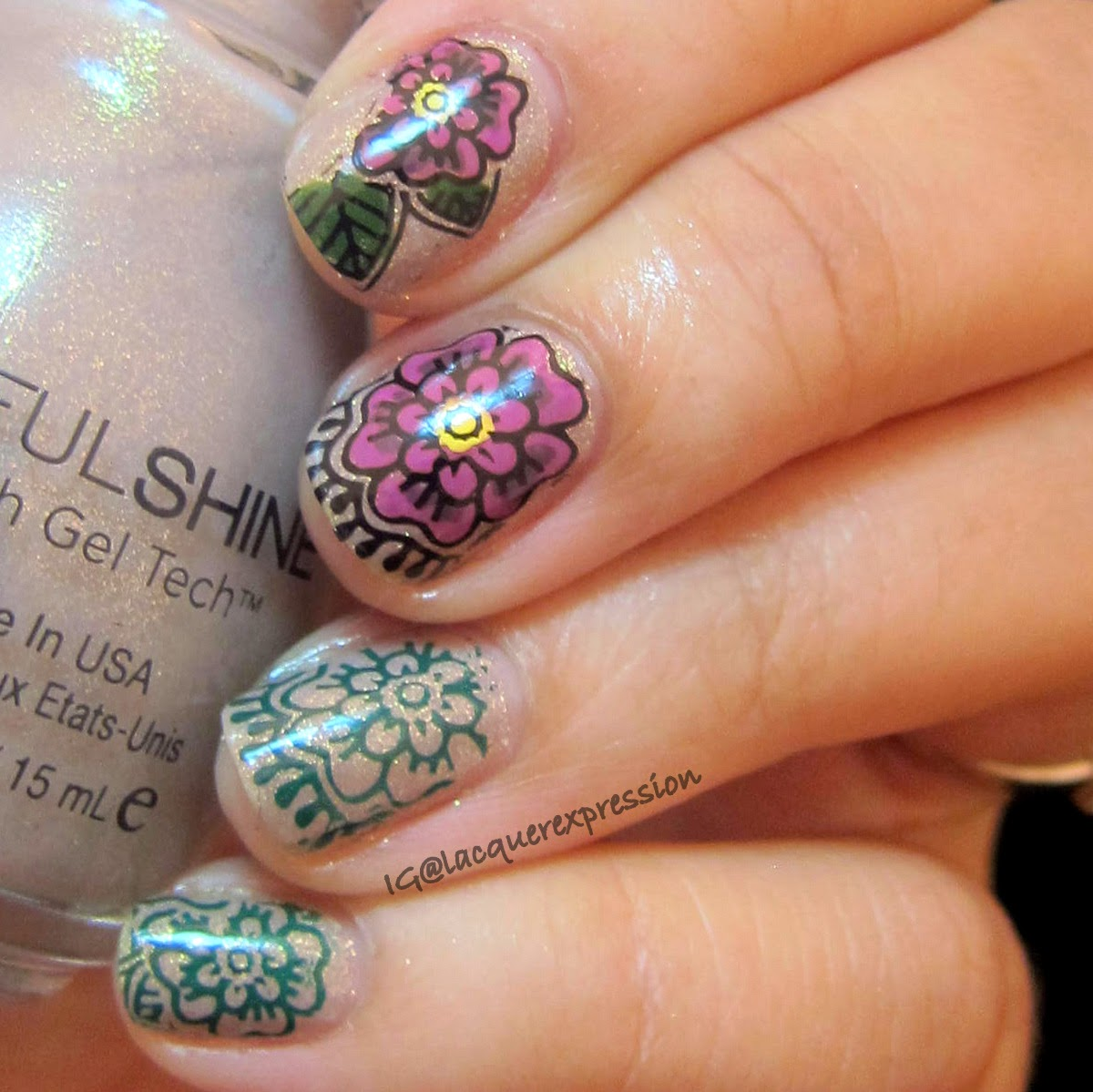 Nail stamping art with Moyou London Explorer plate 6 and Sinful Shine Prosecco