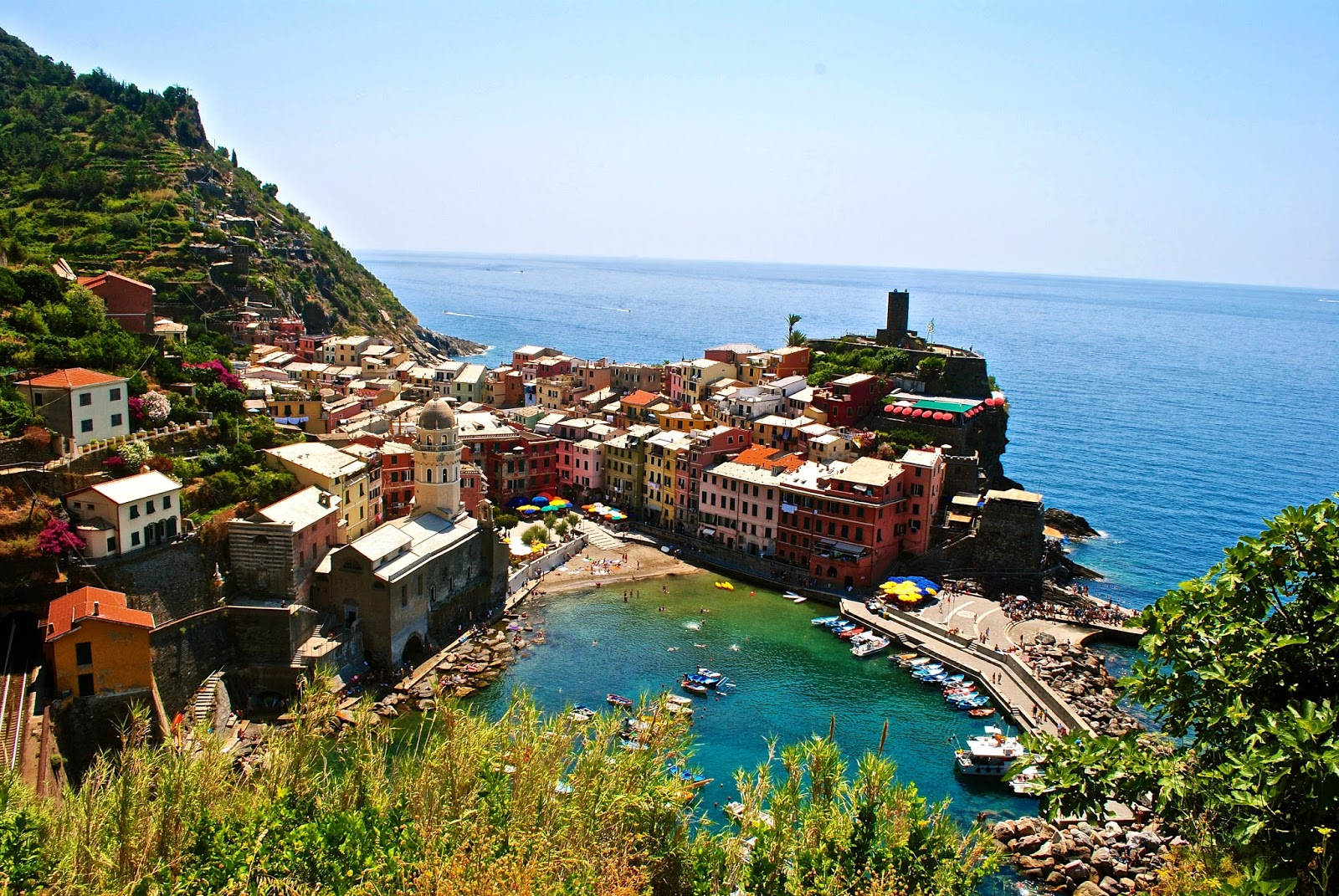 View of Vernazza in the Cinque Terre Italy from hiking route