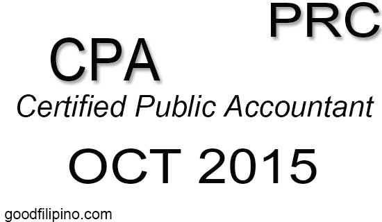 CPA PRC Board Exam Results - Certified Public Accountant (October 2015)