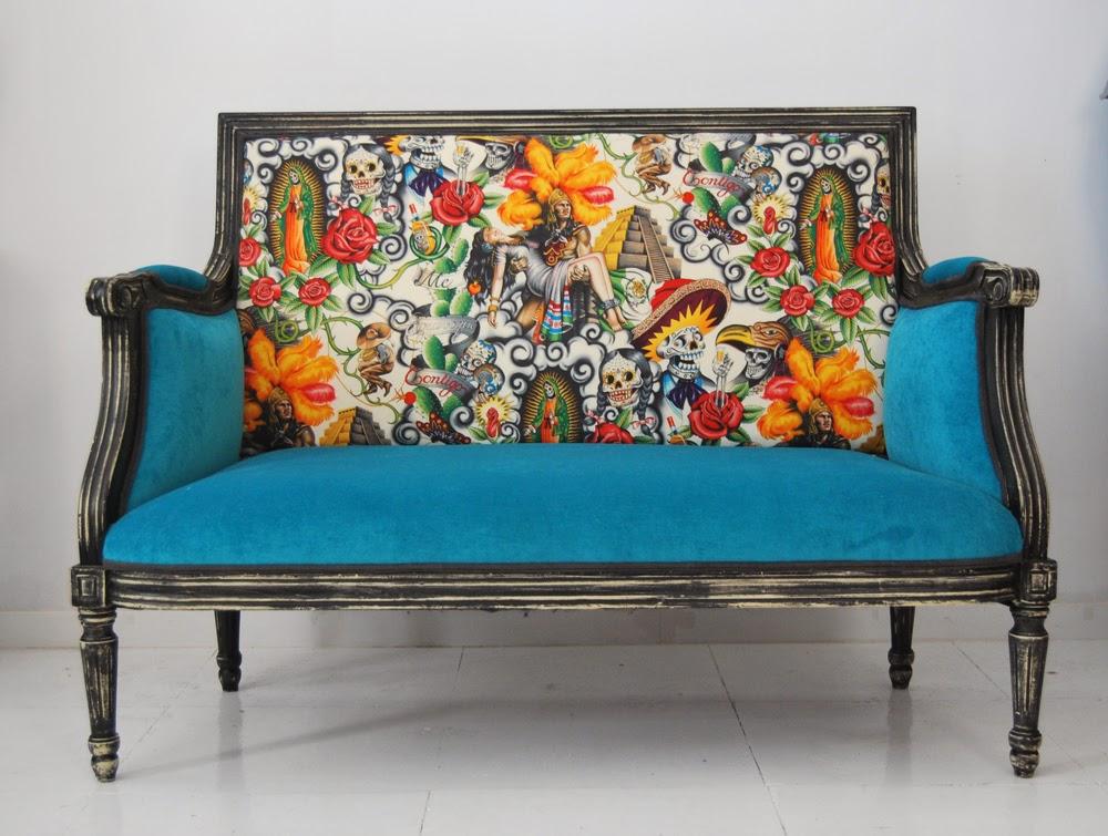 La tapicera sof estilo luis xvi tapizado con tela mexicana - Tela para sofa ...