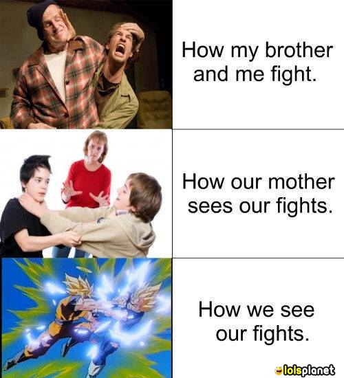 This depicts in a funny way how really brothers fight,how their mother see it,and how they actually see it.funny comic. true story.