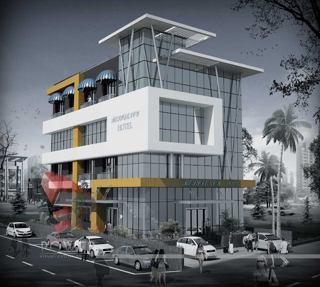 3d Architecture Rendering Of Hotel,3d Animation