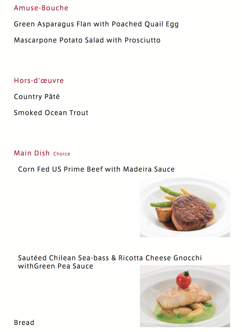 JAL Spring 2015 Business Class menu from New York, Chicago and Los Angeles