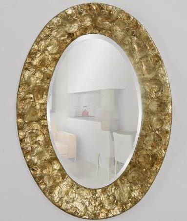 Espejo decoracion en nacar dorado