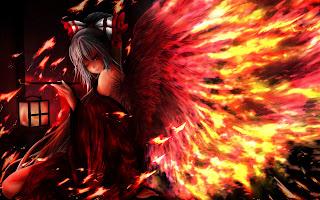 Fire Flame Wings Kimono Cute Girl Smiling Anime HD Wallpaper Desktop PC Background 1838