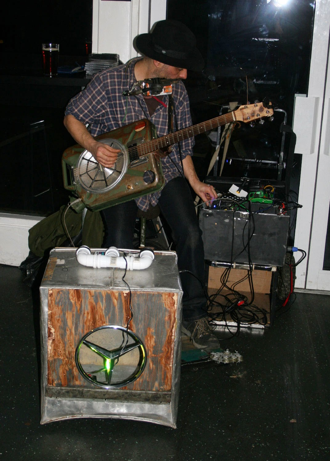 Petrol can guitar and box drum - Phil Saunders