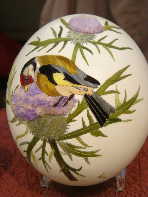 Silk Embroidered Easter Egg from Elizabeth Klein, France