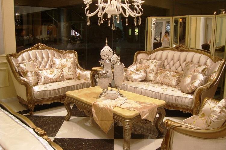 traditional golden wood sofa furniture sets luxury design