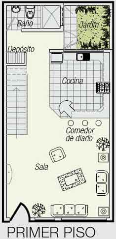 Planos de un minidepartamento de 3 niveles en un terreno for Diseno de casa de 5 x 10