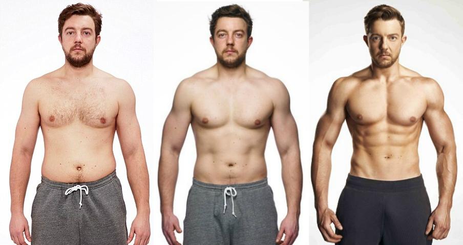 Antes e Depois de Homens Após Dietas e Exercícios