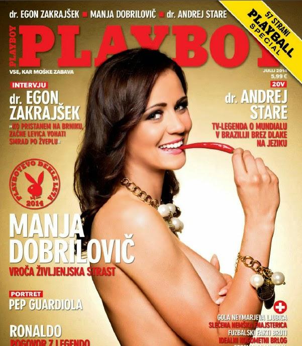 Sexy Manja Dobrilovič is cover girl for Playboy Slovenia July 2014