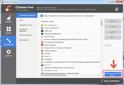 Guardar programas instalados con CCleaner