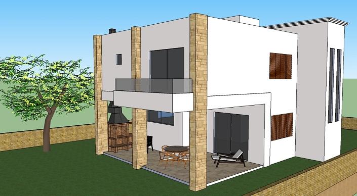 fachada de duplex em 3d