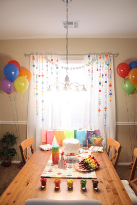 cake table first birthday party rainbow theme circle garland