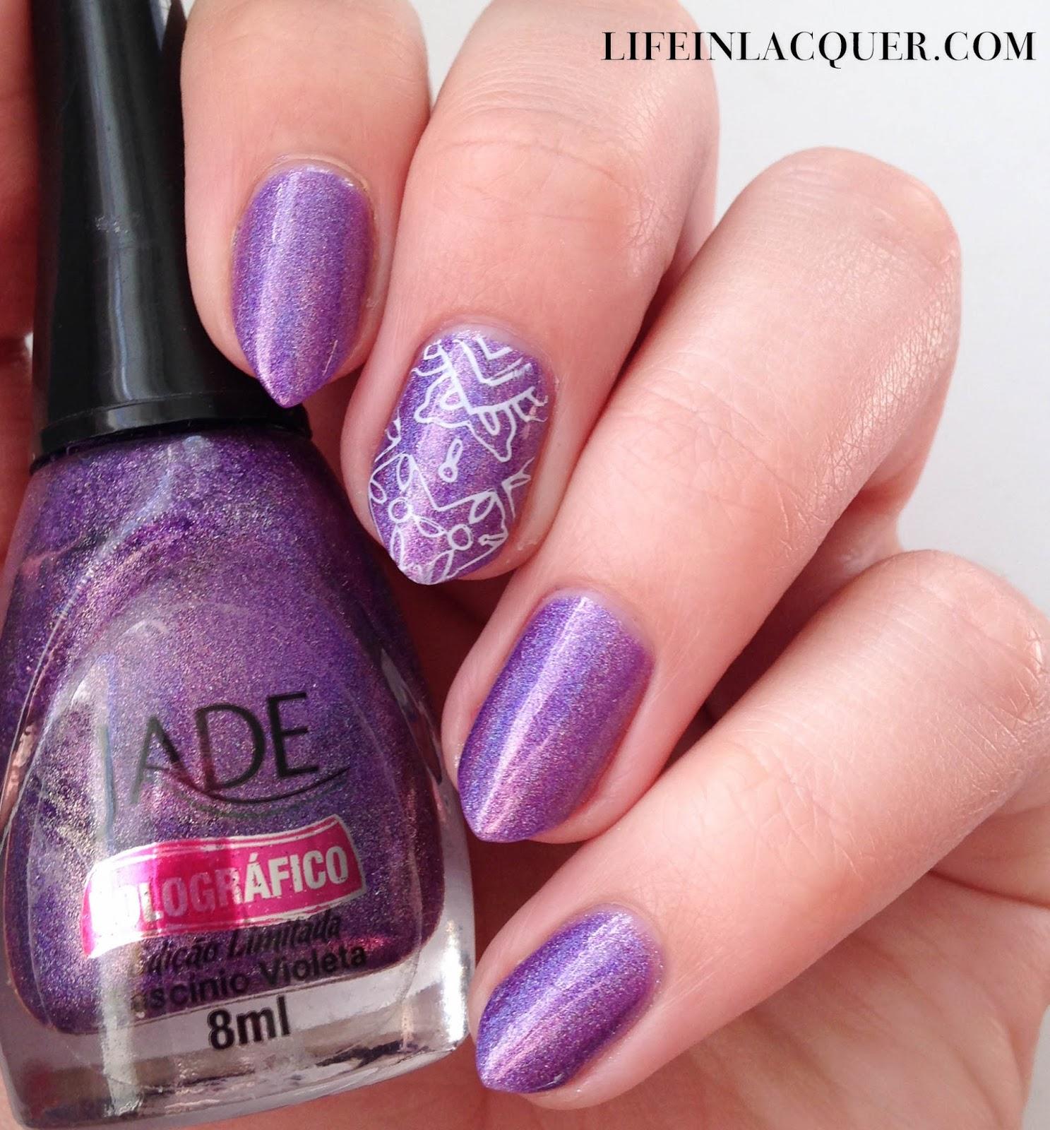 Jade Holografico stamping nail art holo purple