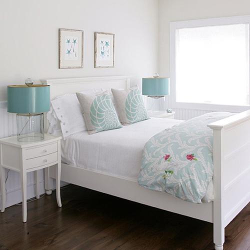 Dormitorios en color turquesa y blanco ideas para for Dormitorio turquesa
