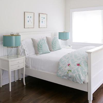 Dormitorios en color turquesa y blanco  Ideas para ...