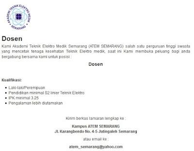 Lowongan kerja resmi ATEM Semarang