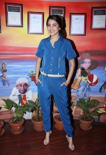 Actress Anushka Sharma Promotes NH10 in Blue Dress at at Red FM  2.jpg
