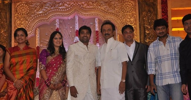 Actor Shiva Weds Priya Stalin And Udhayanidhi At The Wedding Day Reception