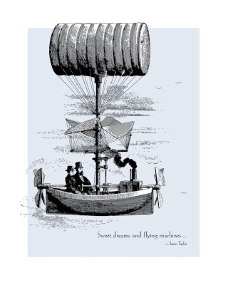 vintage illustration of hot air ship with text