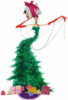 illustration by Robert Wagt of a fashion model dressed as a christmas tree