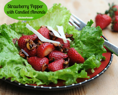 Strawberry Pepper Salad with Candied Almonds