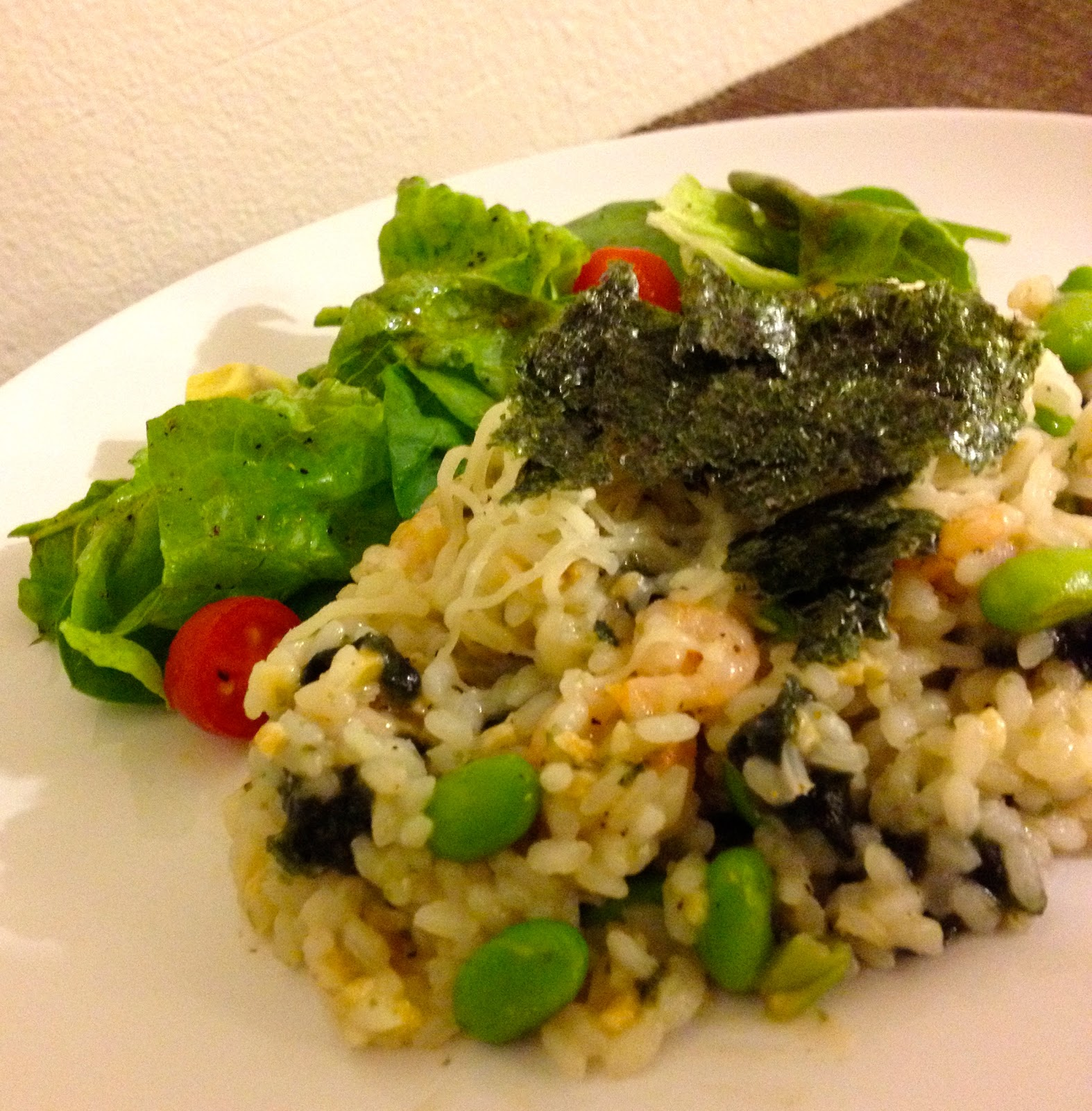 Poppin' kitchen: Seaweed garlic risotto with Shrimp and Edamame