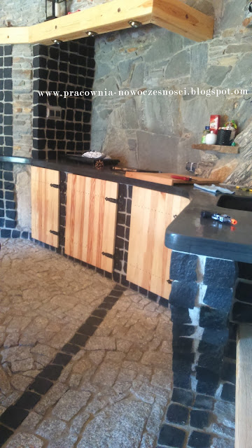 kitchen gazebo with stone