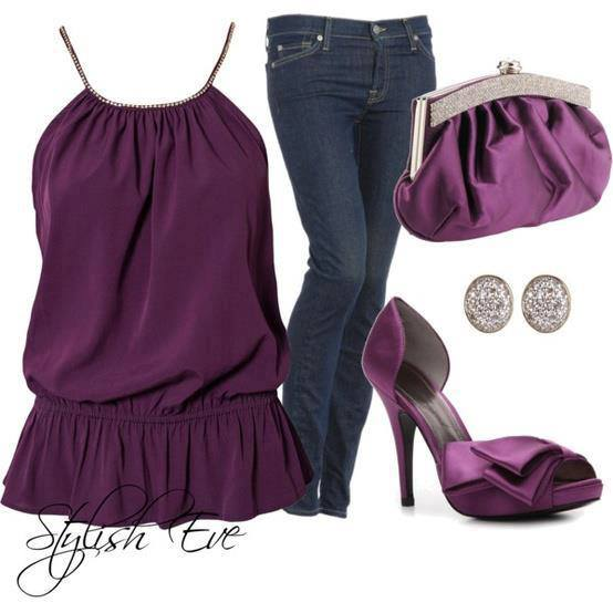 Purple blouse, jeans, purse, high heel sandals and ear tops for ladies