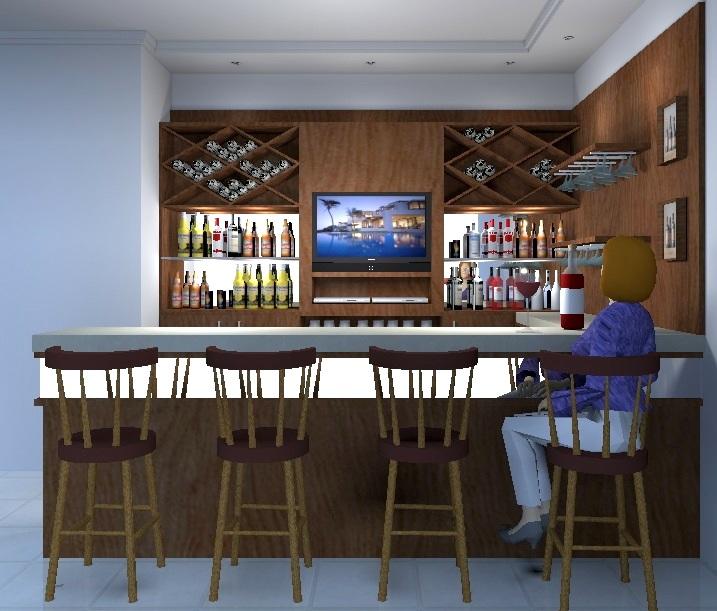 Rafaela fornaziero projeto bar residencial for Modelos de bares rusticos para casas
