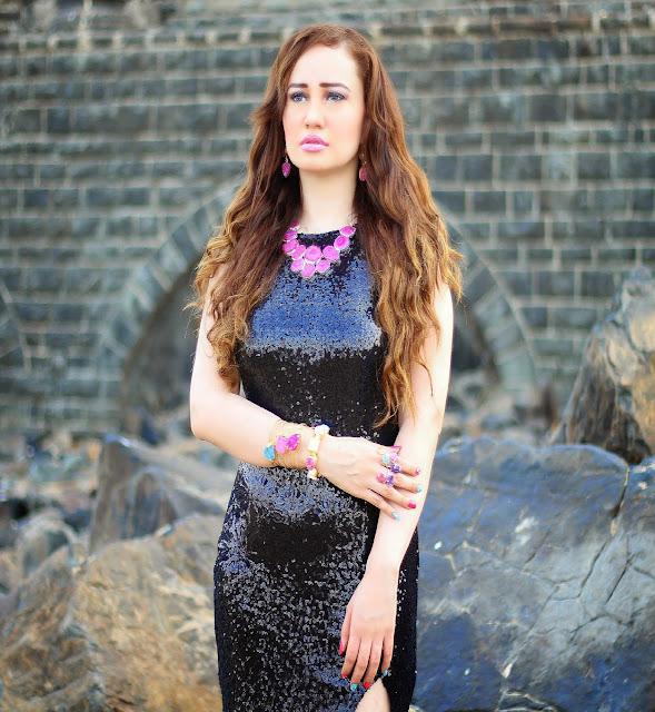 Black Sequin Gown, Agate Necklace, Statement Rings, Cuff Bracelets,Semi-Precious Jewelry, Silvette