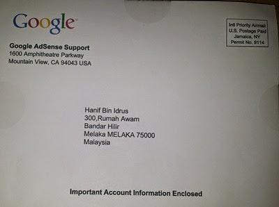 PIN Pengesahan Akaun Google Adsense Untuk Pembayaran