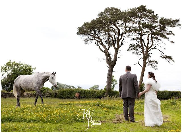 horse at wedding, bride in window, bridal prep, vintage wedding, high house farm brewery wedding, northumberland wedding photography katie byram photography,