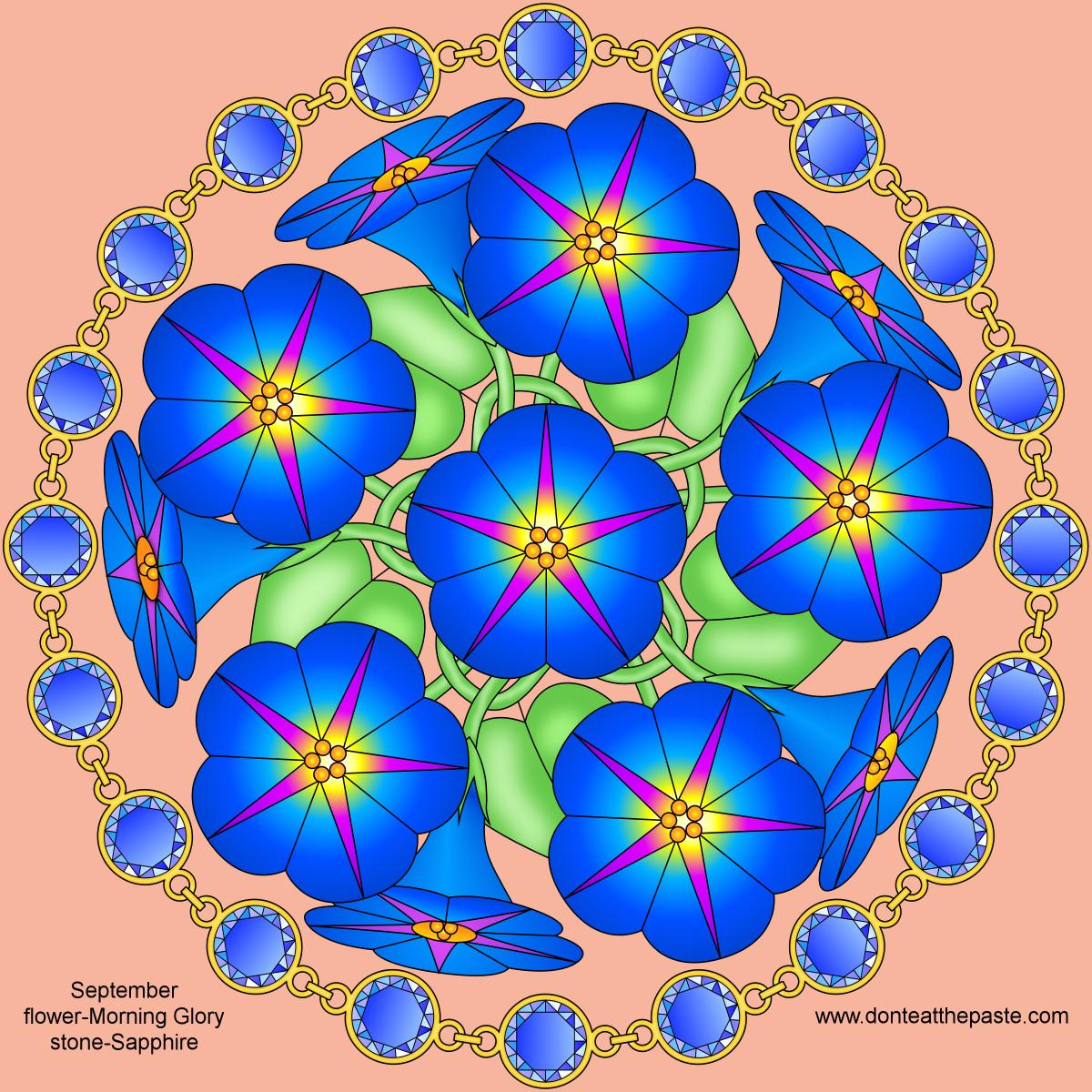 Don t Eat the Paste September Birthstone and Flower Mandala