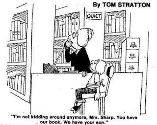 viñeta de humor sobre bibliotecaria