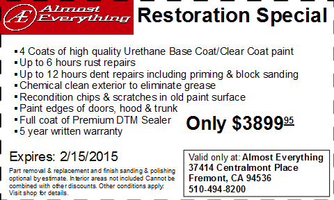Coupon Auto Restoration Special January 2015