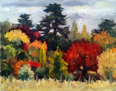 Oil painting of a garden of trees, many exhibiting vibrant red and orange autumn colours.