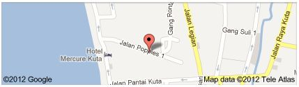Map of Masa Inn Hotel, Kuta, Bali Indonesia