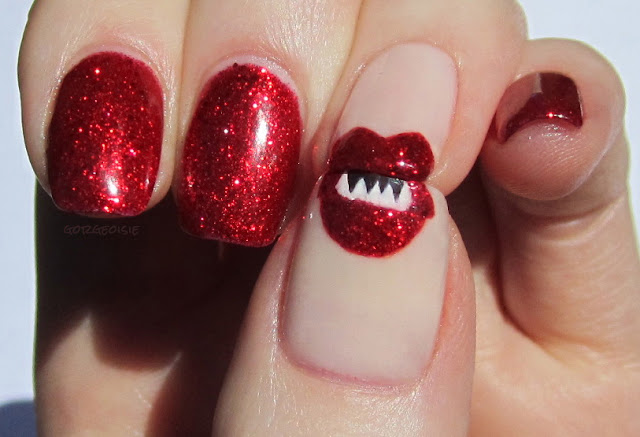 Lips nail art with China Glaze Ring in the Red and OPI So Many Clowns... So Little Time