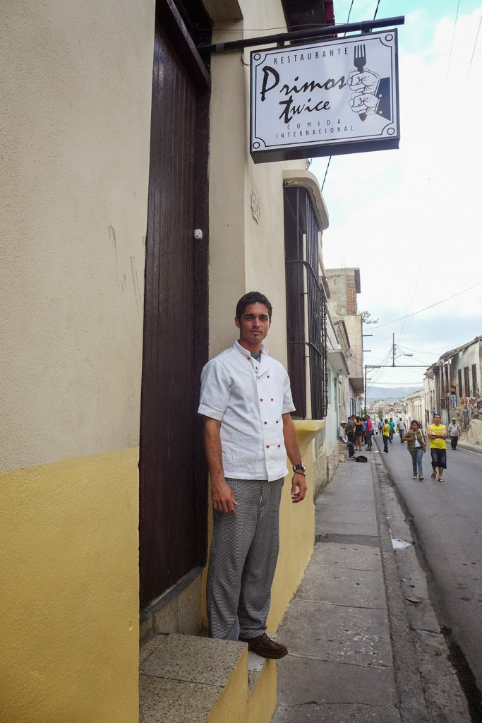 Santiago de Cuba outside of restaurant Primos Twice with chef William
