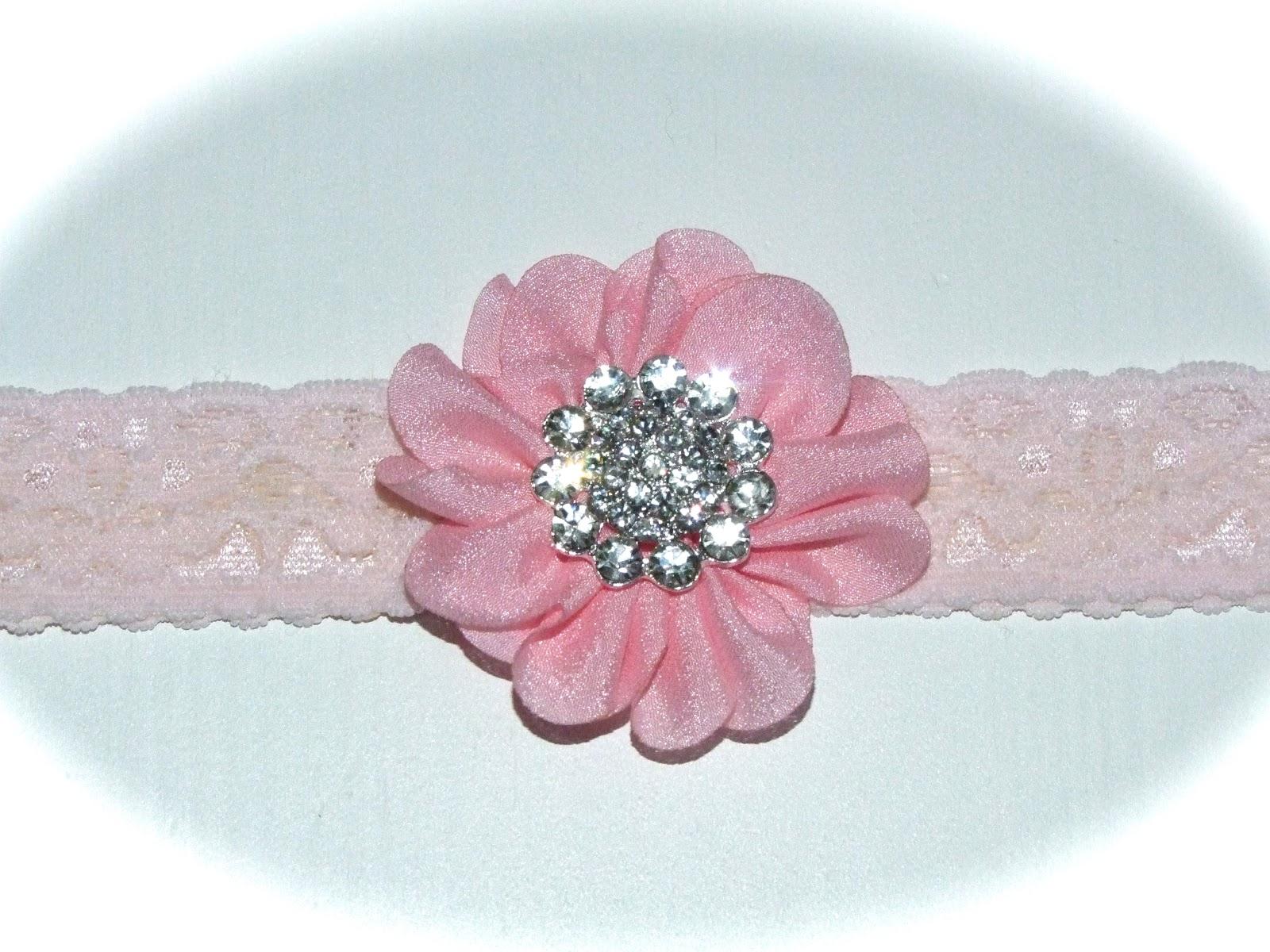 Lys rosa blondehårbånd m chiffon blomst og stor
