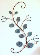Verdigris leafy wall piece
